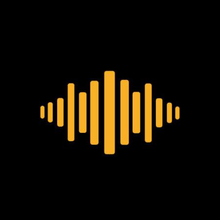 czarno żółta grafika, linie głośności dźwięku